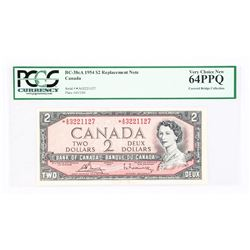 1954 - $2 Bill - Bouey & Rasminsky - Serial Number : * AG 3221127[Modified] [ASTERIK - Replacement N