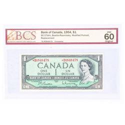 1954 - $1 Bill - Beattie & Rasminsky - Serial Number : * BM 0848478(With Front Plate Number)[Modifie