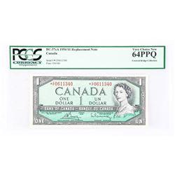 1954 - $1 Bill - Bouey & Rasminsky - Serial Number : *CF0611340[BC-37cA] [Replacement / Asterisk Not
