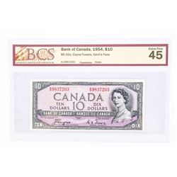 """1954 - $10 Bill - Coyne & Towers - Serial Number : AD9837203[Devil's Face] """"Extra Fine : 45 Holes[BC"""