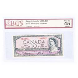 """1954 - $10 Bill - Beattie & Coyne - Serial Number : HD3839831[Devil's Face] """"EF-45[BCS Certified]"""""""