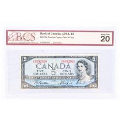 "1954 - $5 Bill - Beattie & Coyne - Serial Number : DC6992020[Devil's Face] ""VF-20[BCS Certified]"""