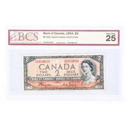 "1954 - $2 Bill - Coyne & Towers - Serial Number : DB1634650[Devil's Face] ""VF-25 Changeover[BCS Cert"