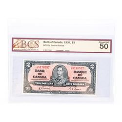 """1937 - $2 Bill - Gordon & Towers - Serial Number : CB 5176557. """"AU-50 Holes[BCS Certified]"""""""