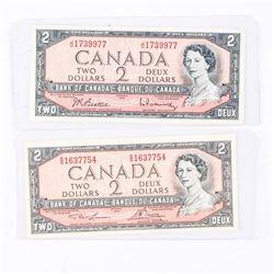 Lot (2) Bank of Canada 1954 2.00 2 Signature Sets
