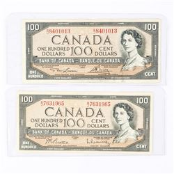 Lot (2) Bank of Canada 1954 100.00 Modified Portrait. 2 Signature Sets.