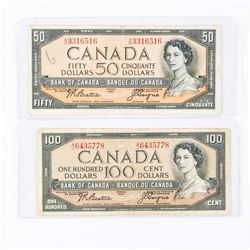 Lot (2) Bank of Canada 1954 Modified Portrait 50.00 and 100.00 Matched Signature Set