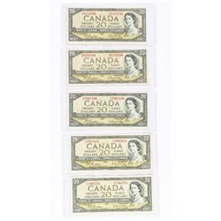Group of (5) Bank of Canada 1954 Modified Portrait 20.00 Matched (UE) Prefix
