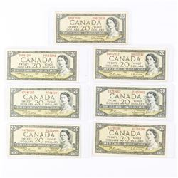 Group of (7) Bank of Canada 1954 Modified Portrait 20.00 Sequence of Prefix (AW-GW)