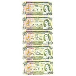 Group of (5) Bank of Canada 1967 20.00 In Sequence BC-50b UNC