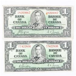 Lot (2) Bank of Canada 1937 1.00 2 Signature Sets