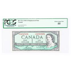 Bank of Canada 1954 1.00 * Replacement PCGS. 55. (MIE)