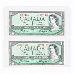 Bank of Canada 1954 1.00 * Replacement (AA) Consecutive Pair BC-37aA B/C
