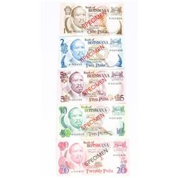 Bank of Botswana 5x Specimen Note Set serial 5439 with C.O.A.