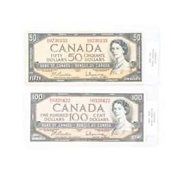 Group of (2) Bank of Canada 1954 50.00 and 100.00 B/R