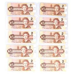 Group of (10) Bank of Canada 1986 2.00 Notes