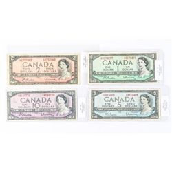 Group of (4) Bank of Canada 1954 Modified Portrait 1, 2, 5, 10 - Matched B/R