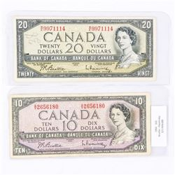 Lot (2) Bank of Canada 1954 Modified Portrait 10.00 and 20.00 Matched B/R