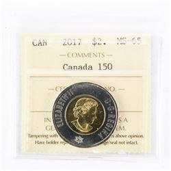 """2017 - $2 [Canada 150] [Not Colour]""""MS-65[ICCS Certified : XWD-114]"""""""