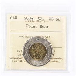 "2004 - $2 [Polar Bear] ""MS-66[ICCS Certified : XPZ-659]"""