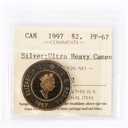 "1997 - $2 (SILVER). ""PF-67Ultra Heavy Cameo[ICCS Certified : XMV-332]"""