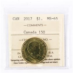 "2017 - $1 - Canada 150 - Connecting a Nation. ""MS-65[ICCS Certified : XFW-308]"""