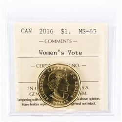 "2016 - $1 [Women's Right To Vote]. ""MS-65[ICCS Certified : XFW-286]"""