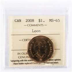 "2008 - $1 [Loon]. ""MS-65[ICCS Certified : XQT-714]"""