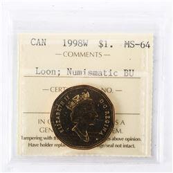 "1998 - W - $1 [Loon]. ""PL-64Numismatic BU : MS-64[ICCS Certified : XYG-664]"""