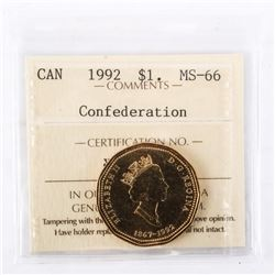 "1992 - $1 [Confederation / Celebration]. ""MS-66[ICCS Certified : XNG-820]"""