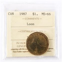 "1987 - $1 [Loon]. ""MS-66[ICCS Certified : XJA-381]"""