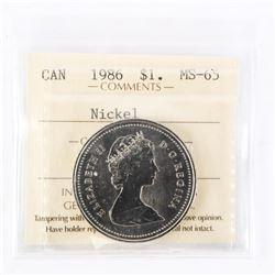 """1986 - $1 [Nickel]. """"MS-65[ICCS Certified : XTT-564]"""""""