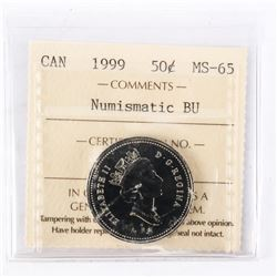 """1999 - 50 cents [No P]. """"PL-65(Numismatic BU - MS65)[ICCS Certified : IG-487]"""""""