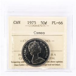 """1975 - 50 Cents. """"PL-66; Cameo[ICCS Certified : XFD-957]"""""""