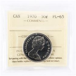 """1970 - 50 Cents. """"PL-65[ICCS Certified : XUF-894]"""""""
