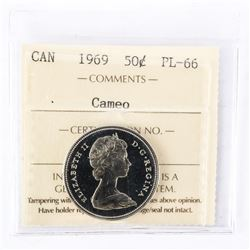 "1969 - 50 cents. ""PL-66 Cameo[ICCS Certified : XMG-409]"""