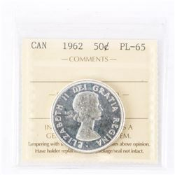 "1962 - 50 Cents. ""PL-65[ICCS Certified : XUL-786]"""