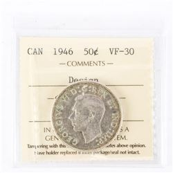 "1946 - 50 cents [Narrow Date] [Hoof Through 6] [Design in Date] [Full] . ""VF-30[ICCS Certified : XJR"