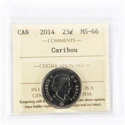 "2014 - 25 cents [Caribou]. ""MS-66[ICCS Certified : XAK-632]"""