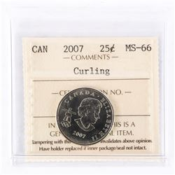 "2007 - 25 cents [Olympic - Curling] ""MS-66[ICCS Certified : ET-850]"""