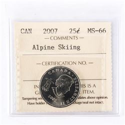 "2007 - 25 cents [Alpine Skiing]. ""MS-66[ICCS Certified : ET-849]"""