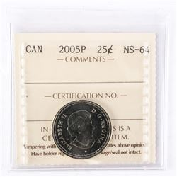 "2005 - P - 25 cents [Caribou]. ""MS-64[ICCS Certified : KL-147]"""
