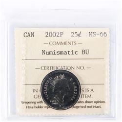 """2002 - P - 25 cents [Caribou]. """"PL-66(Numismatic BU MS-66)[ICCS Certified : ST-515]"""""""