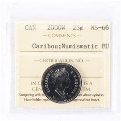 """2000 - W - 25 cents [Caribou]. """"PL-66Numismatic BU : MS-66[ICCS Certified : XYG-646]"""""""