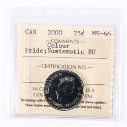 "2000 - 25 Cents [January - Pride] [Coloured]. ""PL-66(Numismatic BU : MS-66)[ICCS Certified : PO-514]"