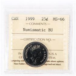 """1999 - 25 cents [Caribou] (no P). """"PL-66(Numismatic BU : MS-66)[ICCS Certified : UY-523]"""""""