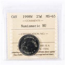 """1998 - W - 25 cents [Caribou]. """"PL-65(Numismatic BU : MS-65)[ICCS Certified : PD-085]"""""""
