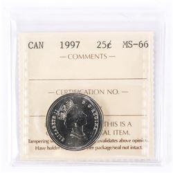 """1997 - 25 cents. """"PL-66(Numismatic BU : MS-66)[ICCS Certified : FQ-857]"""""""