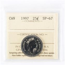 "1997 - 25 cents. ""SP-67[ICCS Certified : XMV-189]"""