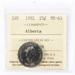 "1992 - 25 Cents [Alberta]. ""MS-65[ICCS Certified : XAF-738]"""